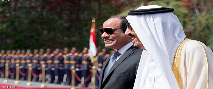 Egypt's President Abdel Fattah al-Sisi and Saudi Arabia's King Salman review the honour guards in Cairo, Egypt, in this handout photo received April 7, 2016. REUTERS/Saudi Press Agency/Handout via Reuters ATTENTION EDITORS - THIS PICTURE WAS PROVIDED BY A THIRD PARTY. REUTERS IS UNABLE TO INDEPENDENTLY VERIFY THE AUTHENTICITY, CONTENT, LOCATION OR DATE OF THIS IMAGE. FOR EDITORIAL USE ONLY. NOT FOR SALE FOR MARKETING OR ADVERTISING CAMPAIGNS. THIS PICTURE IS DISTRIBUTED EXACTLY AS RECEIVED BY REUTERS, AS A SERVICE TO CLIENTS. NO RESALES. NO ARCHIVE.