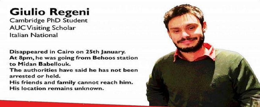 This image posted online after the Jan. 25, 2016 disappearance of Italian graduate student Giulio Regeni in Cairo, Egypt shows Reggeni in a graphic used in an online campaign, #whereisgiulio seeking information on his whereabouts. The body of the missing Italian student was found with signs of torture, including multiple stab wounds and cigarette burns, by the side of a highway on the outskirts of the Egyptian capital, an investigating prosecutor told The Associated Press on Thursday, Feb. 4, 2015. (#wheresgiulio via AP)