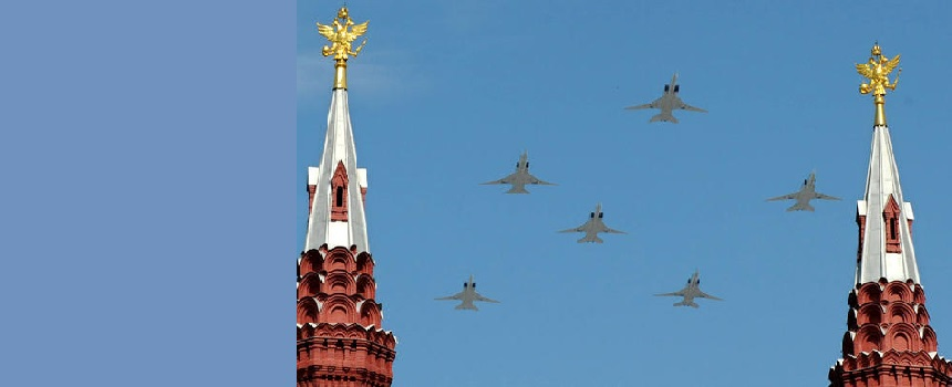 Russian Tu-22 M3 bombers fly over Red Square during the Victory Day parade in Moscow on May 9, 2010. Troops from four NATO states marched through Red Square for the first time Sunday as Russia marked victory in World War II with its biggest military parade since the collapse of the Soviet Union. AFP PHOTO / YURI KADOBNOV (Photo credit should read YURI KADOBNOV/AFP/Getty Images)