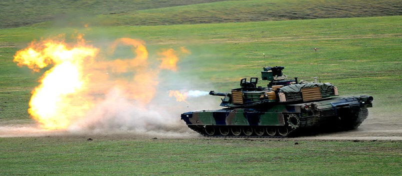A US M1A2 Abrams tank fires during the Noble Partner 2016 joint military exercise at the Vaziani training area outside Tbilisi on May 18, 2016. Some 500 Georgian, 650 US and 150 British troops are taking part in the drills, billed as the largest ever to be held in the Caucasus nation, which fought a brief war with Russia in 2008.  / AFP / Vano Shlamov        (Photo credit should read VANO SHLAMOV/AFP/Getty Images)