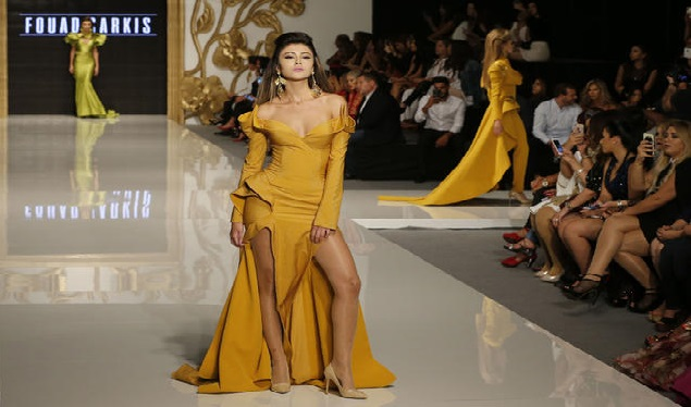 A model displays a creation by Lebanese fashion designer Fouad Sarkis during 'La Mode A Beyrouth' fashion week, in the Lebanese capital, on October 18, 2016. / AFP / JOSEPH EID (Photo credit should read JOSEPH EID/AFP/Getty Images)
