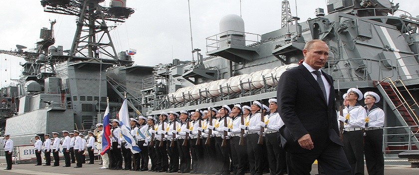 NOVOROSSIYSK, RUSSIA - SEPTEMBER 23:  Russian President Vladimir Putin visits the destroyer Vice-Admiral Kulakov at the Naval Base of Black Sea Fleet on September 23, 2014 in Novorossiysk, Russia. Putin is on a one-day visit to new Russian Military Naval Base of Black Sea Fleet in Novorossiysk.  (Photo by Sasha Mordovets/Getty Images)